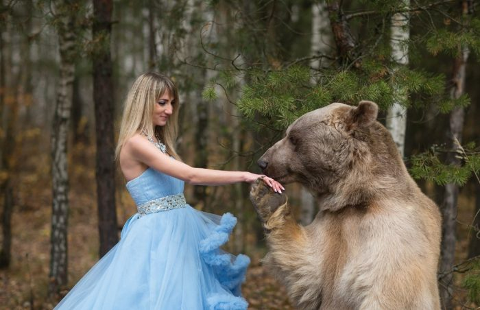Медведь и модель на фотосессии