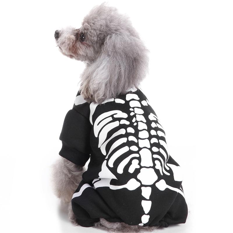 Пудель в костюме скелета