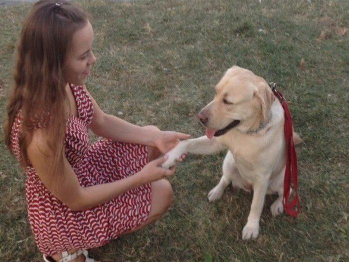 незрячая с собакой