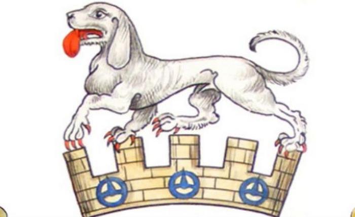 Изображение собаки Талбот на гербе