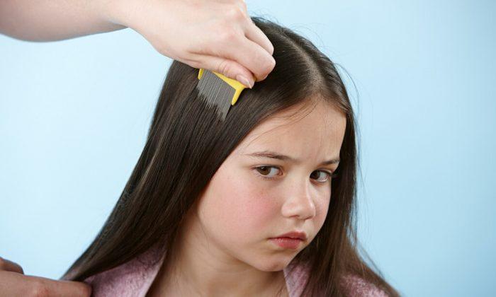 Девочке расчёсывают волосы гребнем