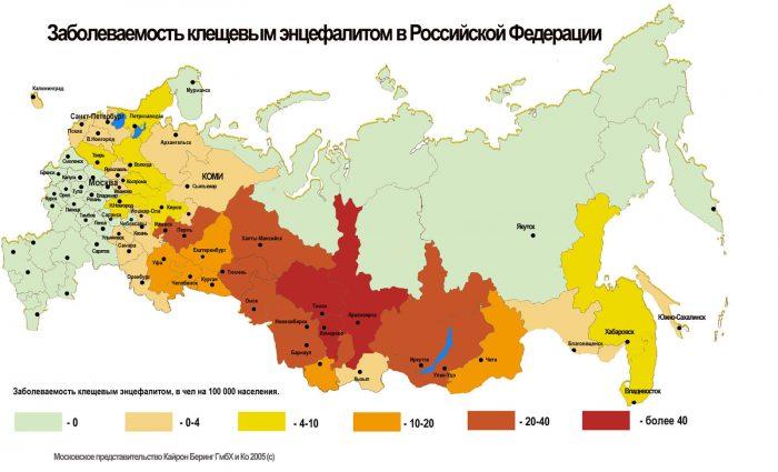 Карта заболеваемости клещевым энцефалитом