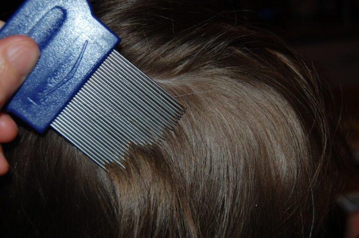 Ребёнку расчёсывают волосы металлическим гребнем от вшей