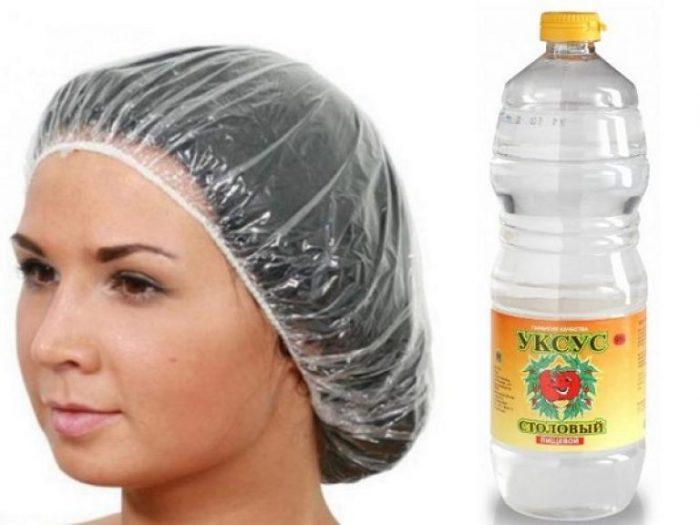 Уксус и девушка в шапочке на голове