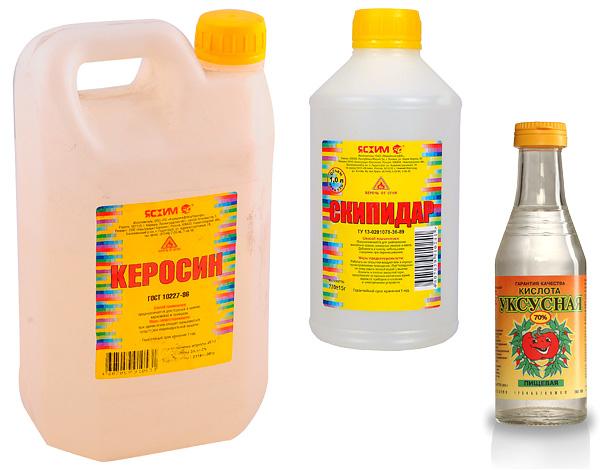канистра с керосином, бутылки скипидара и уксусной кислоты