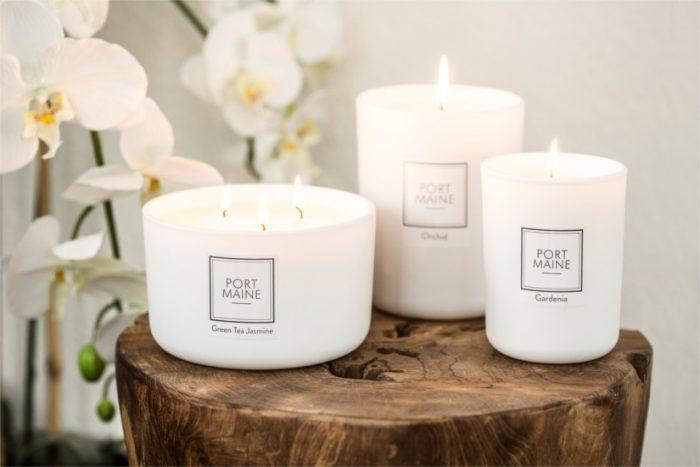 три парафиновые свечи разных размеров