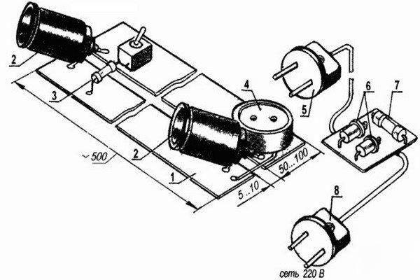 Схема самодельной электрической ловушки