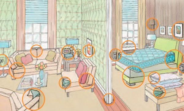 Квартира с отмеченными участками