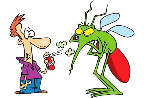 Человечек с аэрозолем и комар
