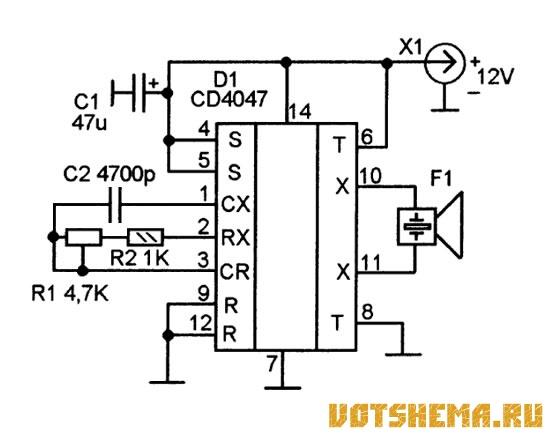 Приниципиальная схема высокачастотного генератора УЗ для отпугивания тараканов и грызунов