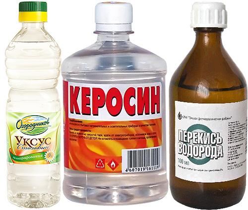 Бутылка уксуса, керосина и флакон перекиси