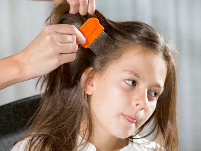Девочке вычёсывают вшей из волос специальным гребнем