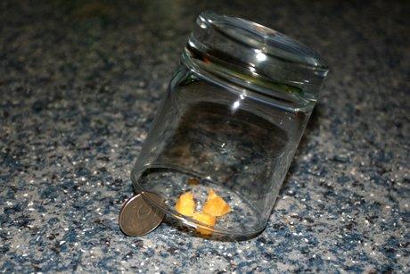 ловушка для мышей, изготовленная при помощи ёмкости и монеты